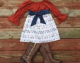 Girls Fall Thanksgiving Dress and Sash Pumpkin Orange Navy Gold Arrows 3 6 12 18 24 2t 3t 4t 5 6 7 8 9 10 Fall Autumn Dress Mothers Day