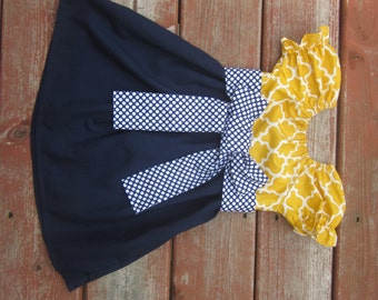 Girls Mustard Yellow Lattice and Navy Peasant Dress with Navy Dot Sash 6 12 18 24 2T 3T 4T 5/6 7/8 9/10 Mother's Day
