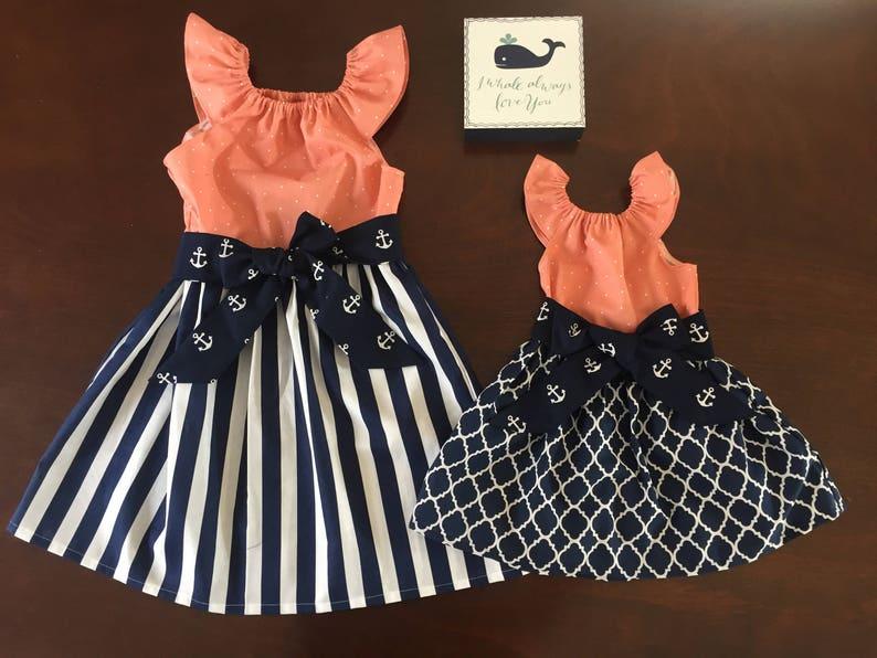 1fe9d003ad2 Girls Beach Dress Navy Coral Peach White Anchor Nautical 3 6