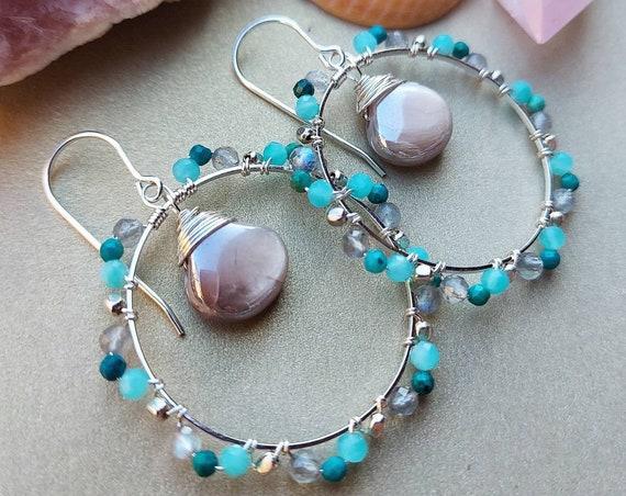 Deluxe Gemstone Hoop Earrings. Mystic Moonstone, Amazonite,  Labradorite, Silver, Gorgeous Gemstones, Limited Edition