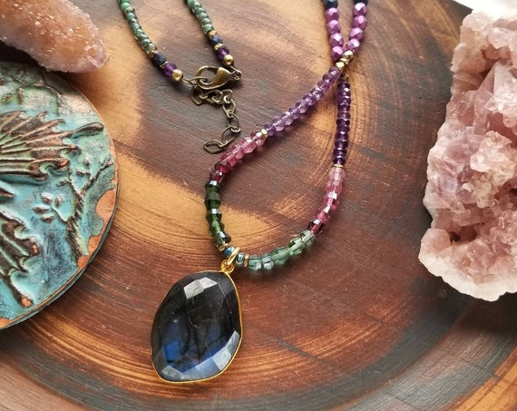 Labradorite Beaded Necklace. Tourmaline, Amethyst, Glass, Gold, Brass, One-of-a-kind Beaded Gemstone Necklace