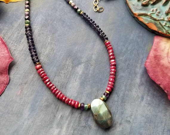 Labradorite and Ruby Necklace. Deluxe Gemstones, Iolite, Czech Glass, Delica Seed Beads, Beaded Artisan Necklace