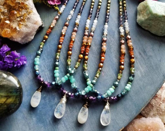 Rainbow Moonstone Necklace. Amethyst, Apatite, Sunstone, Glass, Silver or Brass, Beaded Gemstone Necklace