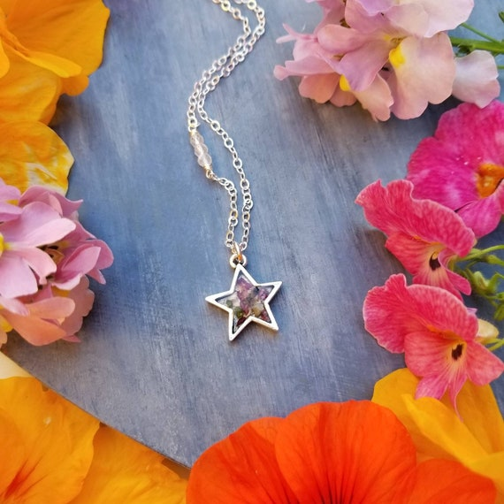 California Sage and Flower Star Necklace in Silver. Gemstones, Limited Edition Botanical Necklace