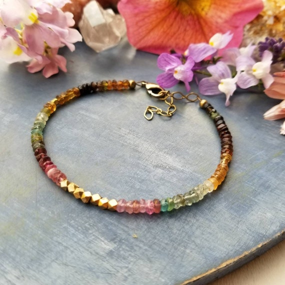 Watermelon Tourmaline and Brass Bracelet. Authentic Gemstones, Faceted Brass, Limited Edition Delicate Artisan Bracelet