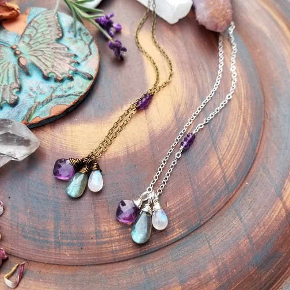 Gemstone Charm Necklace. Rainbow Moonstone, Labradorite, Purple Amethyst, Brass OR Silver, Artisan Gemstone Necklace