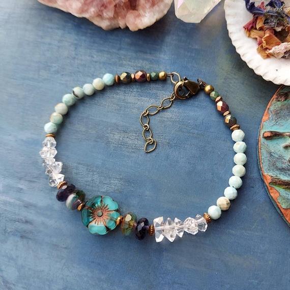 Herkimer Diamond, Larimar and Glass Hibiscus Bracelet. Luxurious Gemstones, Czech Glass, Faceted Brass, Delicate Artisan Bracelet