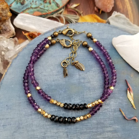 Luxurious Gemstone Bracelet. Purple Amethyst and Black Garnet, Faceted Brass, Delicate Artisan Stacking Bracelet