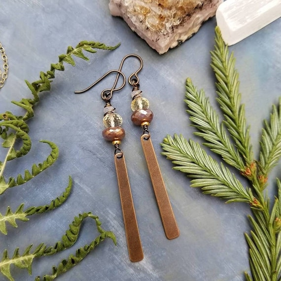 Deluxe Gemstone Drop Earrings. Labradorite, Citrine, Crystals, Brass, Artisan Gemstone Earrings