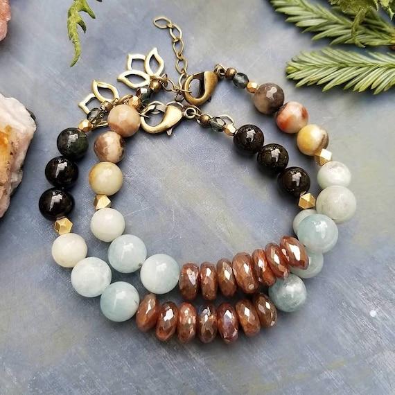 Gemstone Beaded Bracelet. Labradorite, Aquamarine, Lotus Flower, Limited Edition Beaded Bracelet
