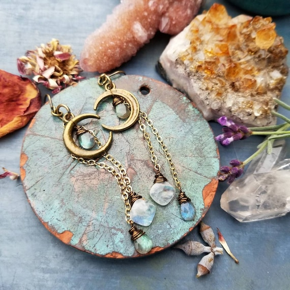 Labradorite Crescent Moon Earrings. Rainbow Moonstone, Bronze, Gold, Celestial Artisan Earrings