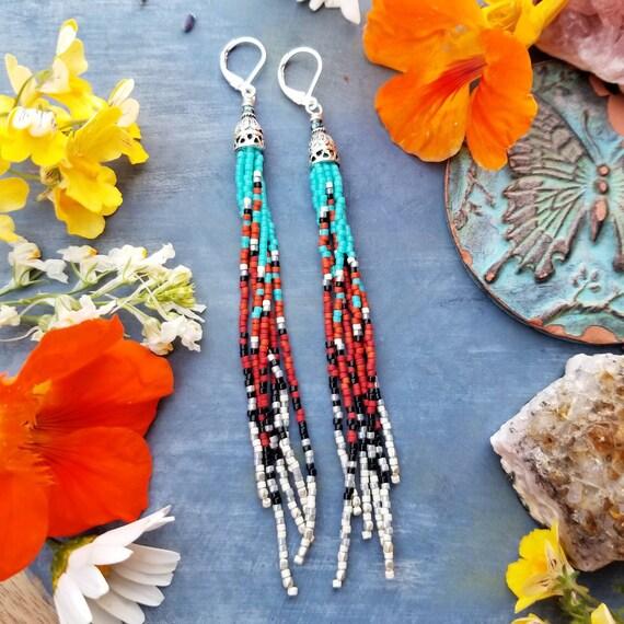 Mini Dakota Fringe Earrings. Turquoise, Red, Black, Silver, Lightweight, OOAK Seed Bead Earrings, First Edition