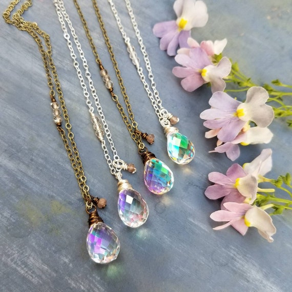 Deluxe Rainbow Aura Quartz Necklace. Chocolate Moonstone, Brass or Silver, Deluxe Gemstones, Artisan Gemstone Necklace