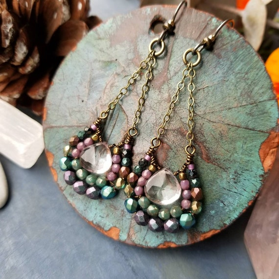 Mystic Pink Quartz Mirela Earrings. Luxury Gemstones, Purple, Green, Brass, Glass, OOAK Artisan Earrings