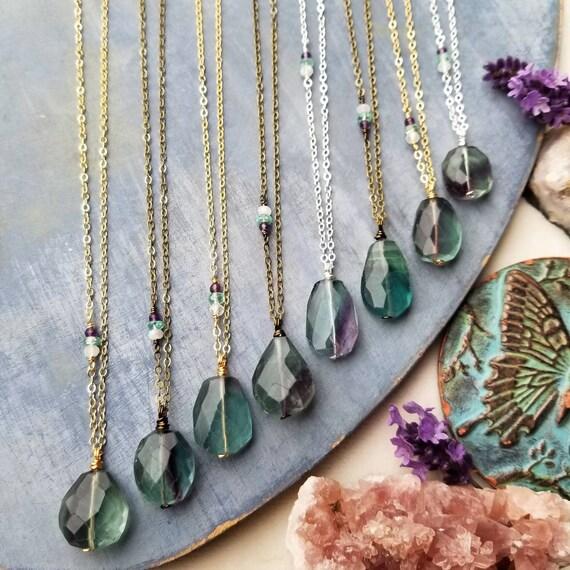 Rainbow Fluorite Necklace. Deluxe Gemstones, Gold, Brass or Silver, Rainbow Moonstone, Amethyst, Artisan Gemstone Necklace