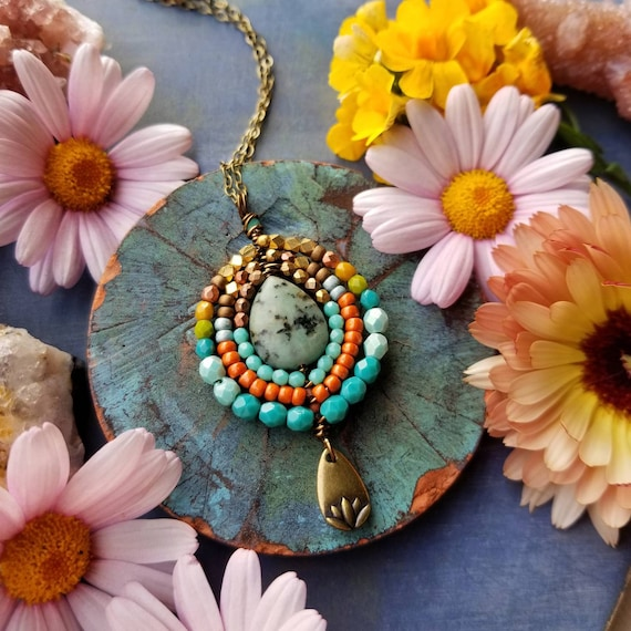 Turquoise Nadya Pendant Necklace. Lotus Flower, Teal, Orange, Aqua, Bronze, One-of-a-kind Artisan Necklace