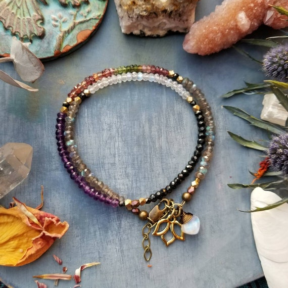 Luxurious All-Gemstone Wrap Bracelet. Labradorite, Watermelon Tourmaline, Rainbow Moonstone, Amethyst, Black Garnet Double Wrap Bracelet