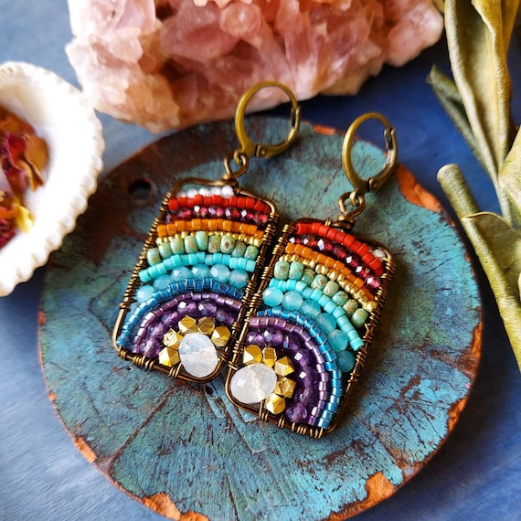 Rainbow Moonstone Xiola Earrings. Extra Rainbow, Glass Seed Beads, Brass, Boho Artisan Earrings