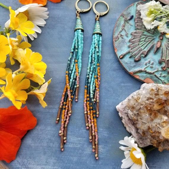 Mini Ashland Fringe Earrings. Aqua, Teal, Pecan, Copper, Lightweight, Limited Edition Seed Bead Earrings