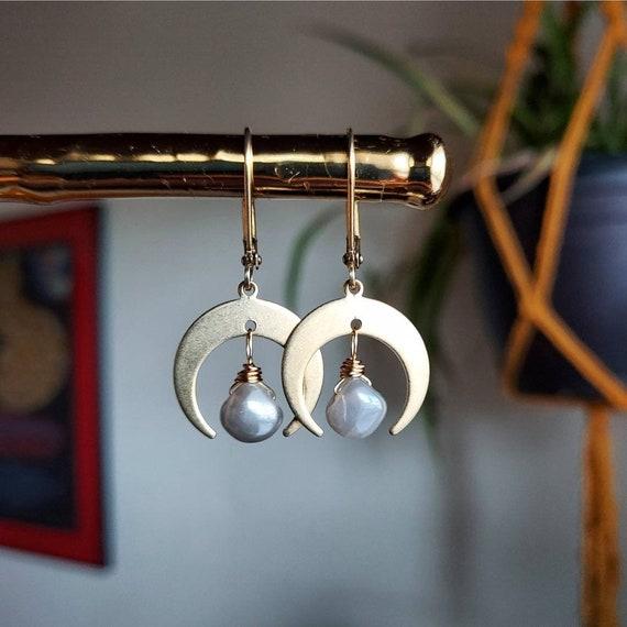 Mystic Moonstone Earrings. Petite, Deluxe Gemstone Drops, Moons, Gold, Brass, Limited Edition Artisan Earrings