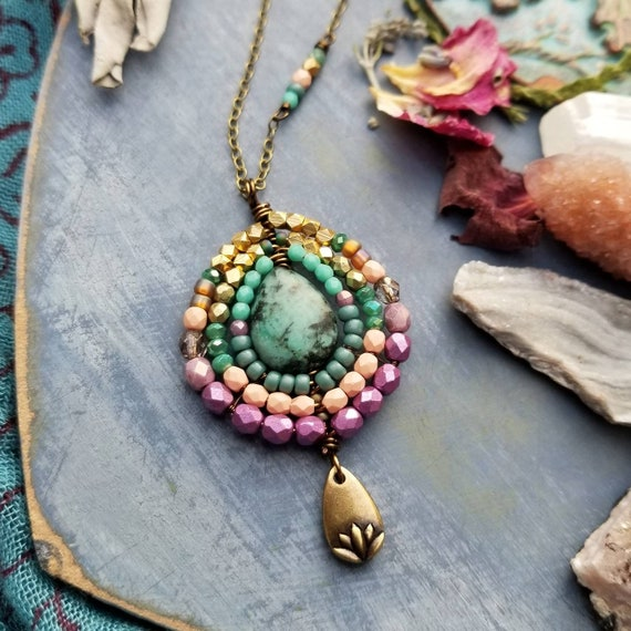 Turquoise Nadya Pendant Necklace. Lotus Flower, Purple, Peach, Teal, Gold, One-of-a-kind Artisan Necklace