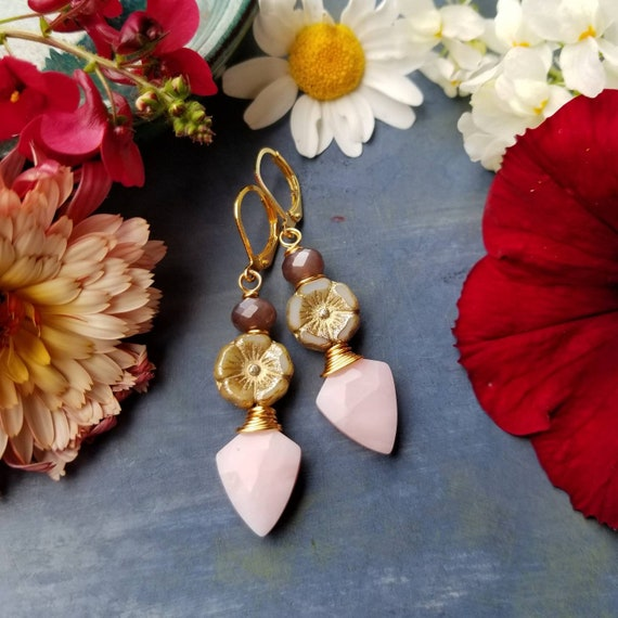 OOAK Ivory Hibiscus and Pink Opal Drop Earrings. Chocolate Moonstone, Luxe Gemstones, Gold, Artisan Wirewrapped Earrings, One-of-a-kind