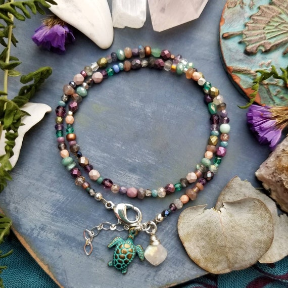 Mixed Gemstone and Glass Wrap Bracelet. Rainbow Moonstone, Labradorite, Amethyst, Brass, One-of-a-kind