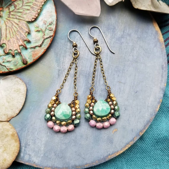 Amazonite Mirela Earrings, Luxe Gems, Aqua, Purple, Green, Brass, Limited Edition Artisan Earrings