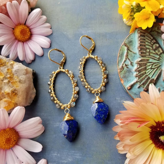 Lapis Lazuli and Labradorite Beaded Oval Earrings. Gold, Gorgeous Gemstones, Lightweight, Second Edition Boho Earrings