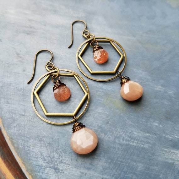 Kinetic Sunstone and Peach Moonstone Earrings. Deluxe Gemstones, Hoops, Brass, Lightweight, Boho Artisan Earrings