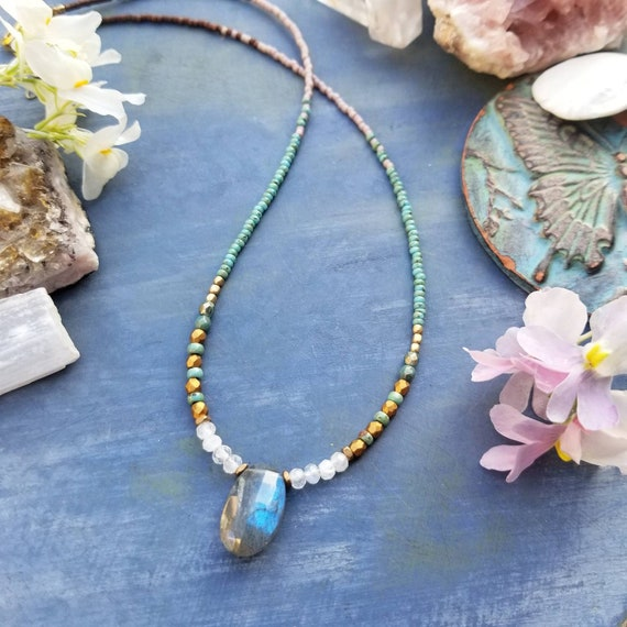 Labradorite and Rainbow Moonstone Necklace. Deluxe Gemstones, Czech Glass, Delica Seed Beads, Beaded Artisan Necklace