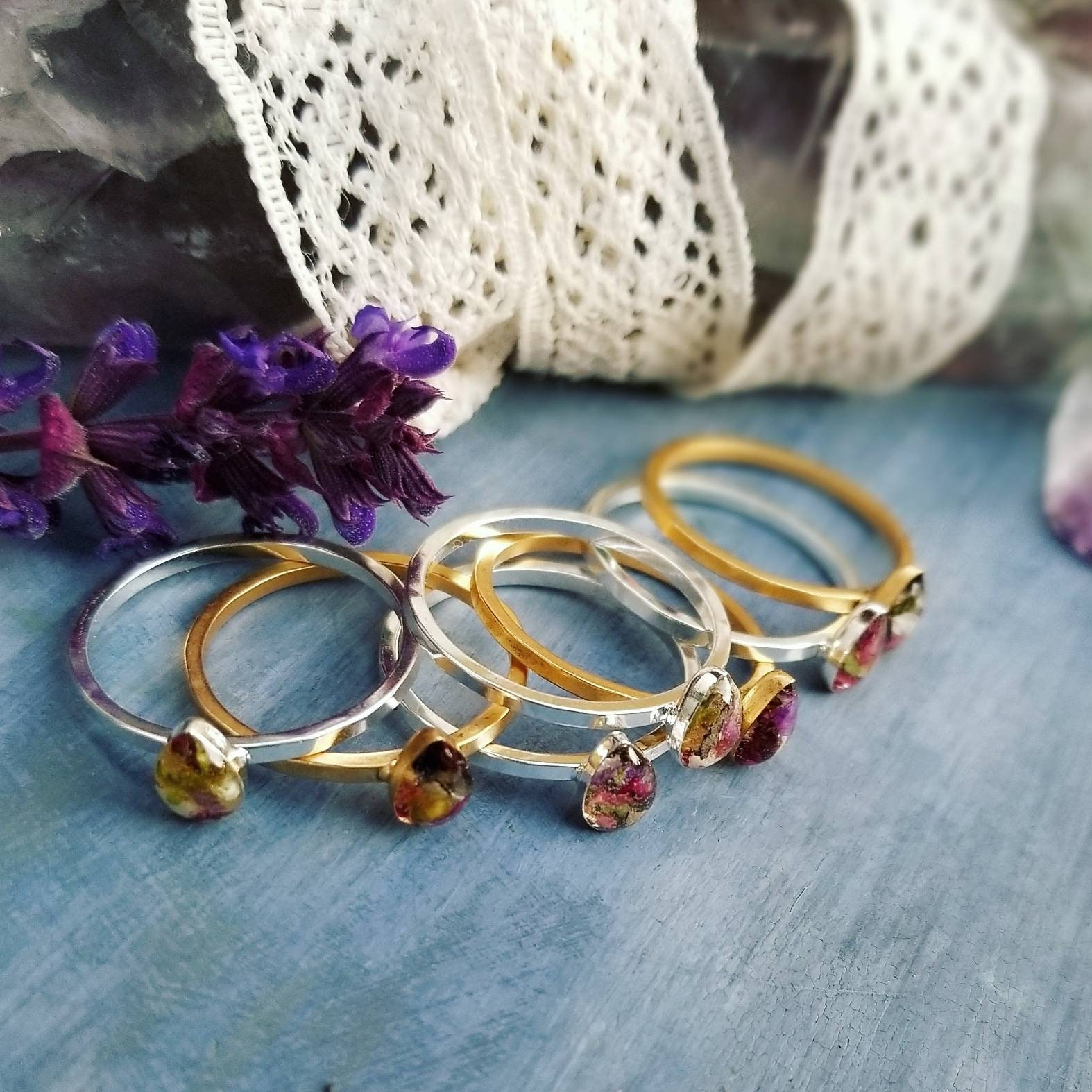 Resin Art Stacking Ring Size 9 Botanical Magic Ring 24k Gold or Sterling Silver Size 9 Herbs and Flowers