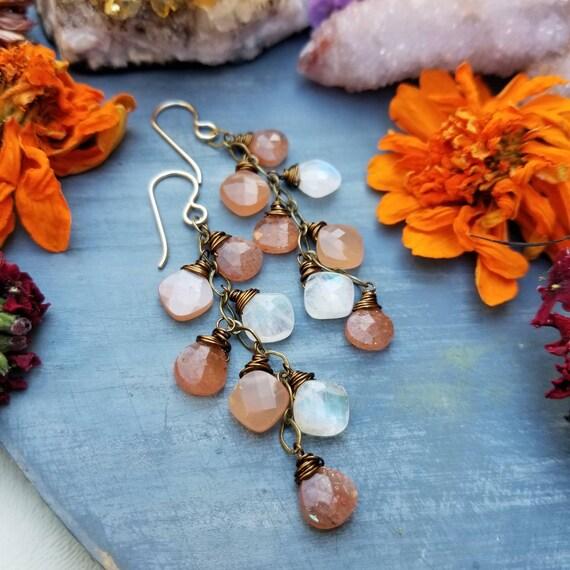 Deluxe Gemstone Cirrus Earrings. Peach Moonstone, Rainbow Moonstone, Sunstone, Gorgeous Gemstones, Limited Edition Boho Artisan Earrings