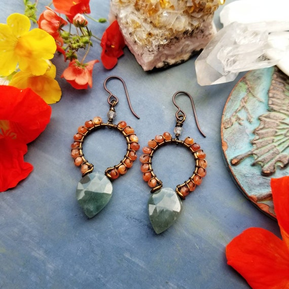 Luxurious Gemstone Goddess Earrings. Sunstone, Moss Aquamarine, Brass, Boho Artisan Hoop Earrings