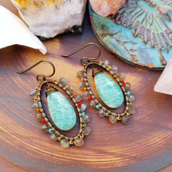 Luxe Amazonite and Labradorite Beaded Earrings. Delicas, Oval, Deluxe Gems, Wirewrapped Artisan Earrings
