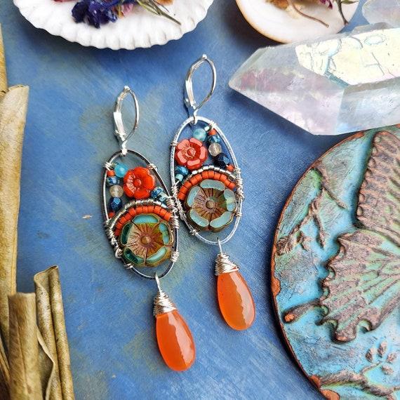 Carnelian Beaded Blooms Earrings. Lightweight, Czech Glass Beads, Colorful, Silver. Artisan Gemstone Earrings