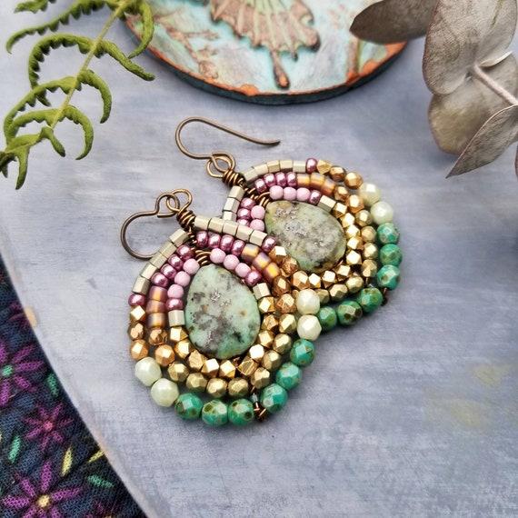 Turquoise Nadya Earrings. Light Jade, Topaz, Lavender, Glass Beads, Brass, Lightweight, OOAK Artisan Earrings