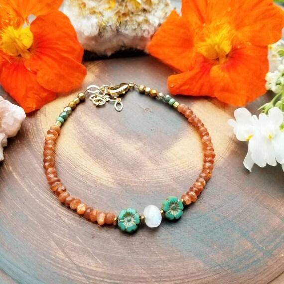 Luxurious Moonstone and Sunstone Glass Bracelet. Czech Glass Flowers, Gold, Brass, Limited Edition Gemstone Bracelet