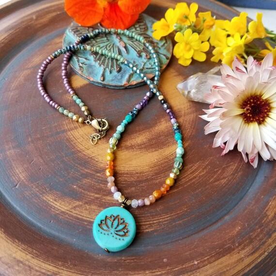 Turquoise Lotus Flower Necklace. Moonstone, Peridot, Turquoise, Carnelian, Garnet, Glass, Brass, Beaded Gemstone Necklace