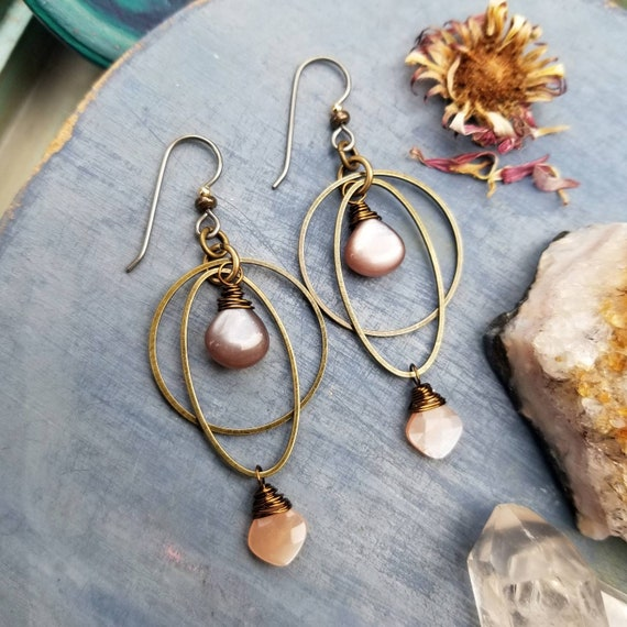 Kinetic Chocolate and Peach Moonstone Earrings. Deluxe Gemstones, Hoops, Brass, Lightweight, Boho Artisan Earrings