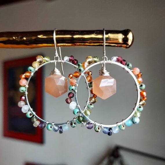 Deluxe Rainbow Gemstone Hoop Earrings. SMALLER SIZE. Peach Moonstone, Garnet, Amethyst, Citrine, Silver, Gorgeous Gemstones, Limited Edition