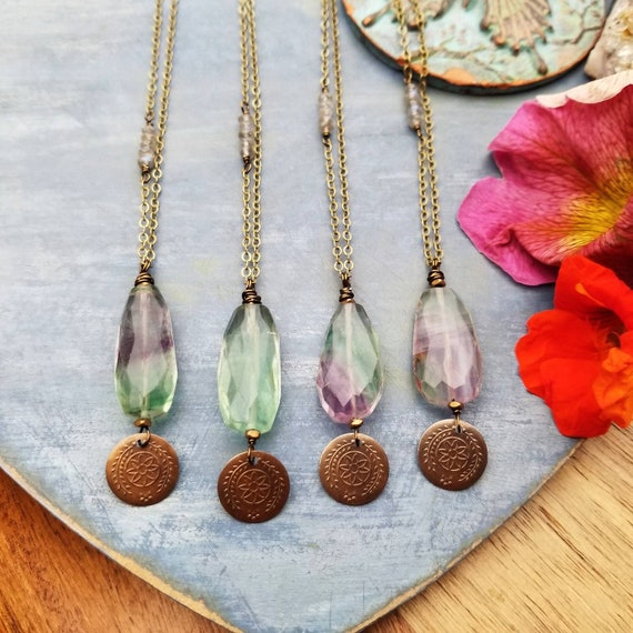 Long Rainbow Fluorite Necklace. Pick Your Favorite! Deluxe Gemstones, Labradorite, Brass, Long Chain, Artisan Gemstone Necklace