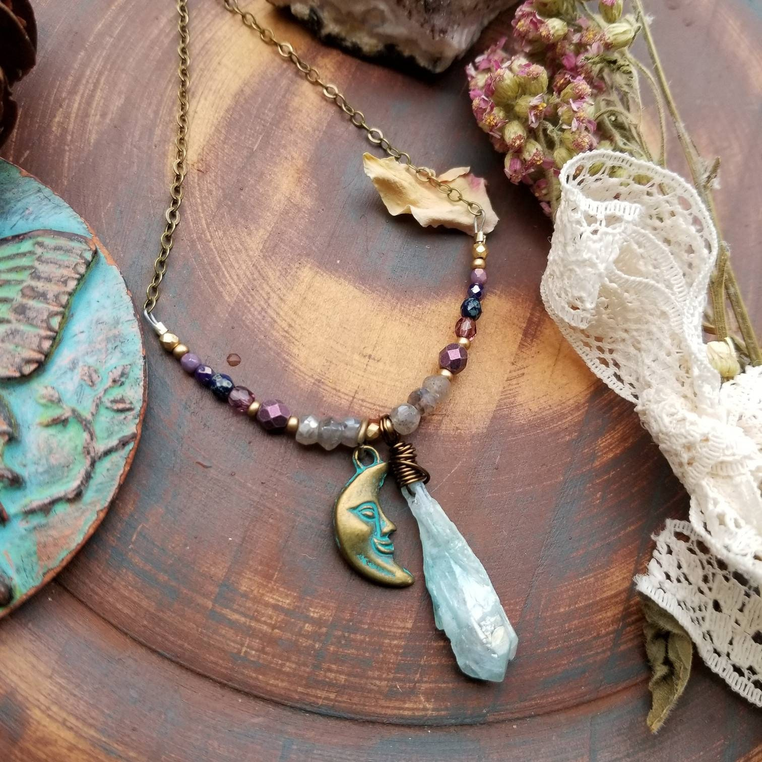 Quartz crystal /& brass beaded necklace