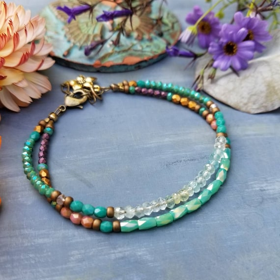Aquamarine and Crystal Double Strand Bracelet. Turquoise Crystals, Purple, Gold, Brass, Limited Edition Bracelet