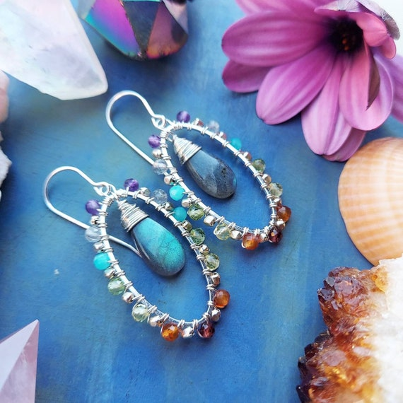 Rainbow Gemstone Earrings. Labradorite, Silver, Oval, Deluxe Gems, Wirewrapped Artisan Earrings