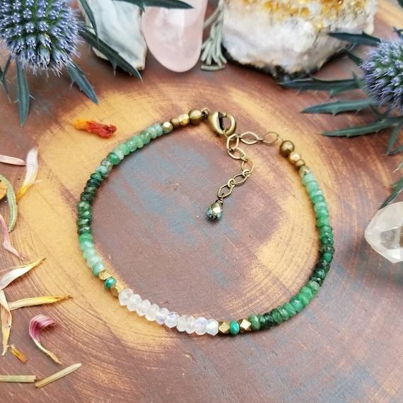 Emerald Bracelet. Rainbow Moonstone, Luxurious Gemstones, Faceted Brass, Delicate Artisan Stacking Bracelet