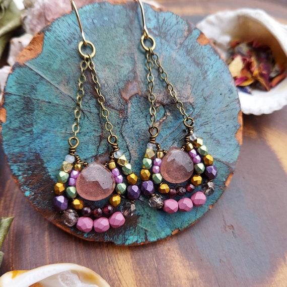 Strawberry Quartz Mirela Earrings. Luxe Gemstones, Garnet, Green, Pink, Brass, Wirewrapped Artisan Earrings