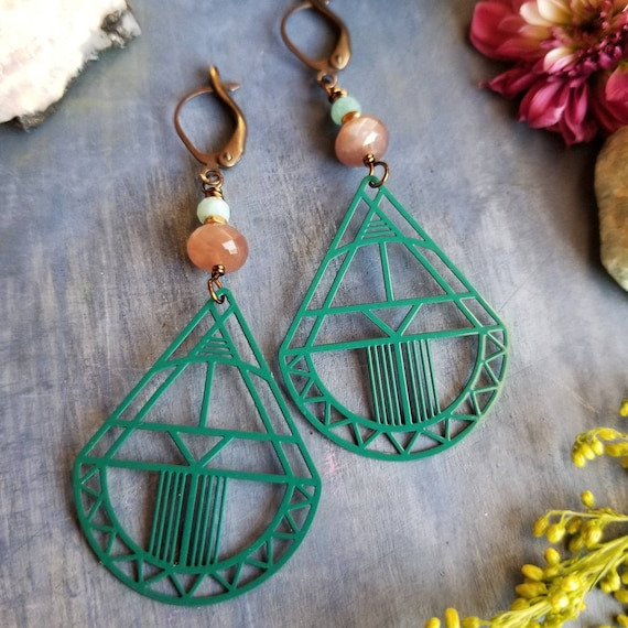 Art Deco Earrings. Chocolate Moonstone, Teal, Brass, Limited Edition Artisan Earrings