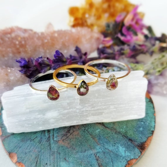 Size 8. Botanical Magic Ring. 24k Gold or Sterling Silver, Herbs and Flowers, Resin Art Stacking Ring, Size 8