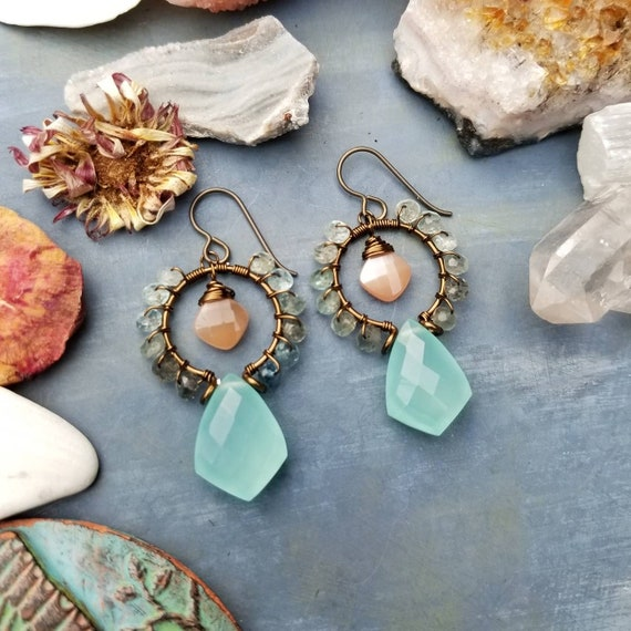 Luxurious Gemstone Goddess Earrings. Moss Aquamarine, Peach Moonstone and Aqua Chalcedony, Brass, Wirewrapped Artisan Earrings